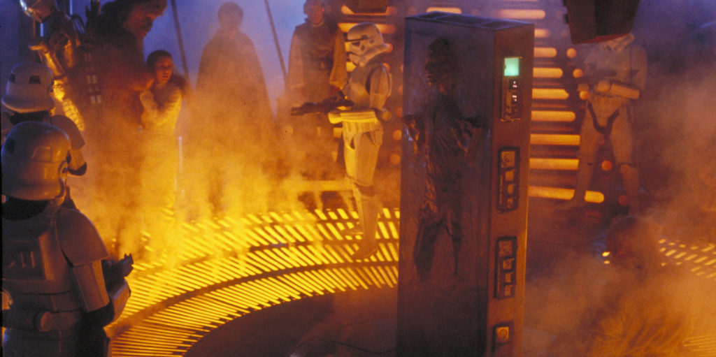 Han Solo (Harrison Ford) moments after being frozen in carbonite in The Empire Strikes Back.