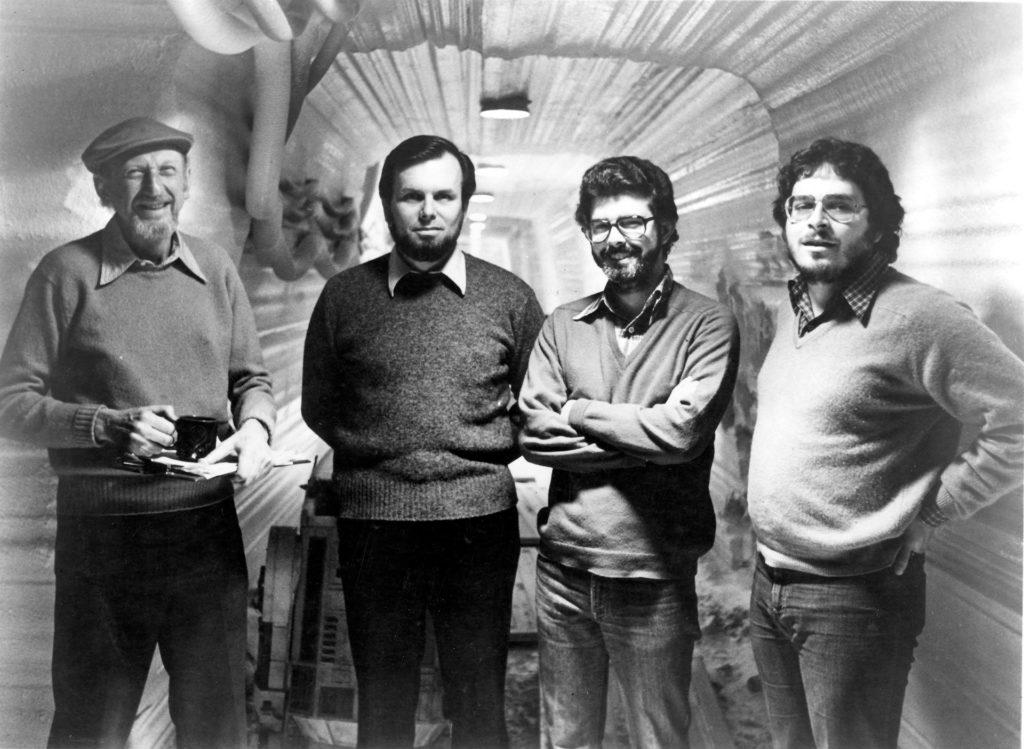 Irvin Kershner, Gary Kurtz, George Lucas, and Lawrence Kasdan on the set of The Empire Strikes Back.