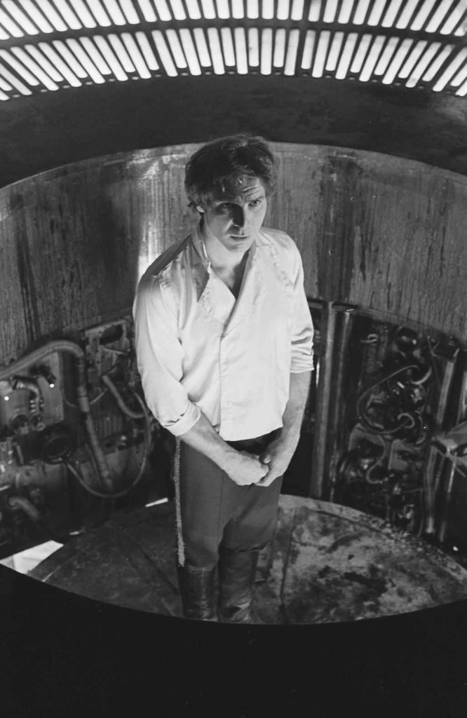 Han Solo (Harrison Ford) moments before being frozen in carbonite in The Empire Strikes Back.