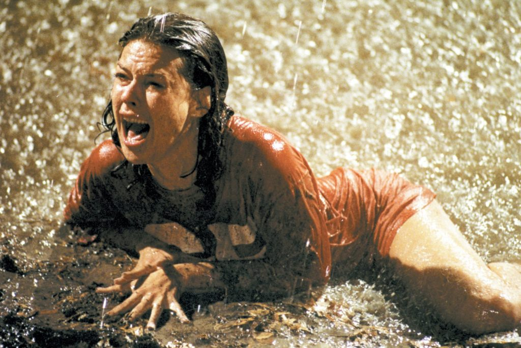 JoBeth Williams as Diane Freeling swimming in muddy water during the climatic events of Poltergeist.