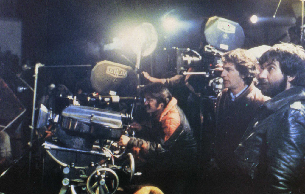 Behind the scenes photo of Steven Spielberg and Tobe Hooper on the set of Poltergeist.
