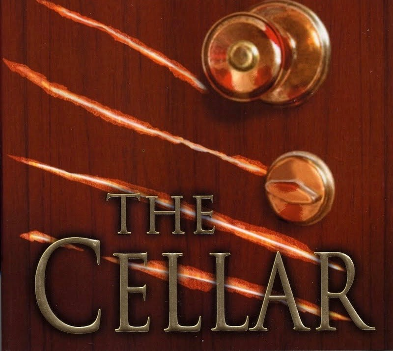 "Cover design for ""The Cellar,"" featuring a door knob and claw marks."