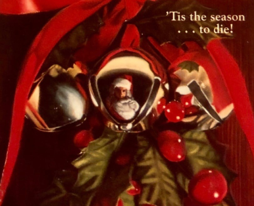 Evil Santa's reflection in a jingle bell on the cover of Jo Gibson's Slay Bells