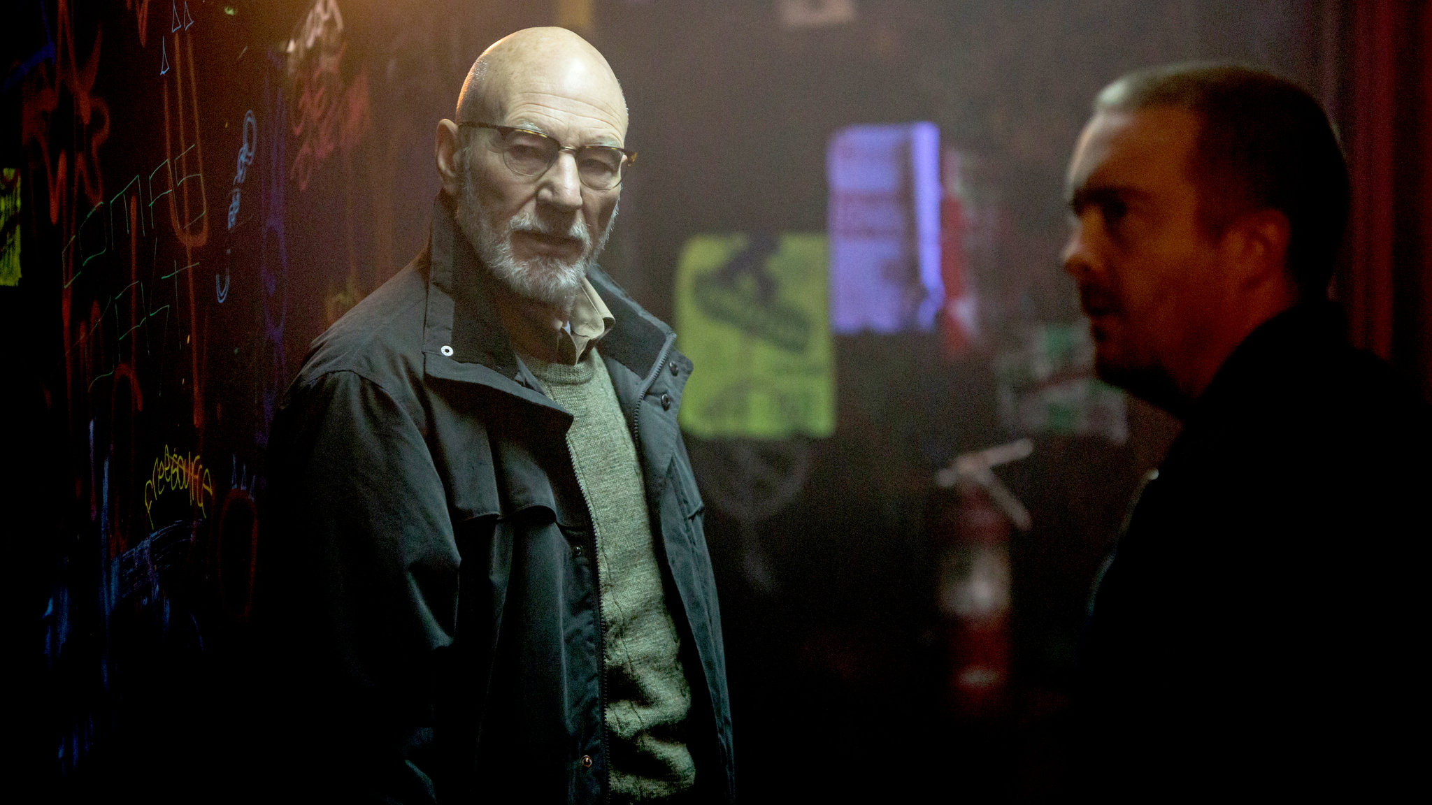"Patrick Stewart as Darcy Banker in ""Green Room"""