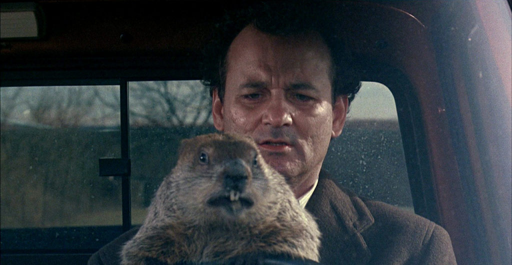 Bill Murray in Groundhog Day.