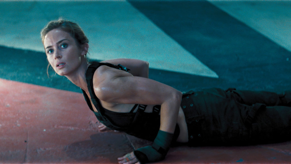"Emily Blunt's yoga pose in ""Edge of Tomorrow."""