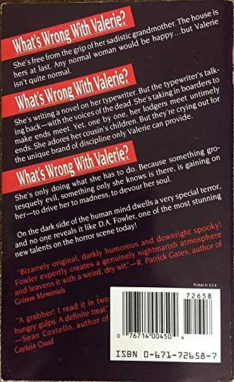"Back cover copy for Pocket Book's publication of ""Whats Wrong With Valerie."""