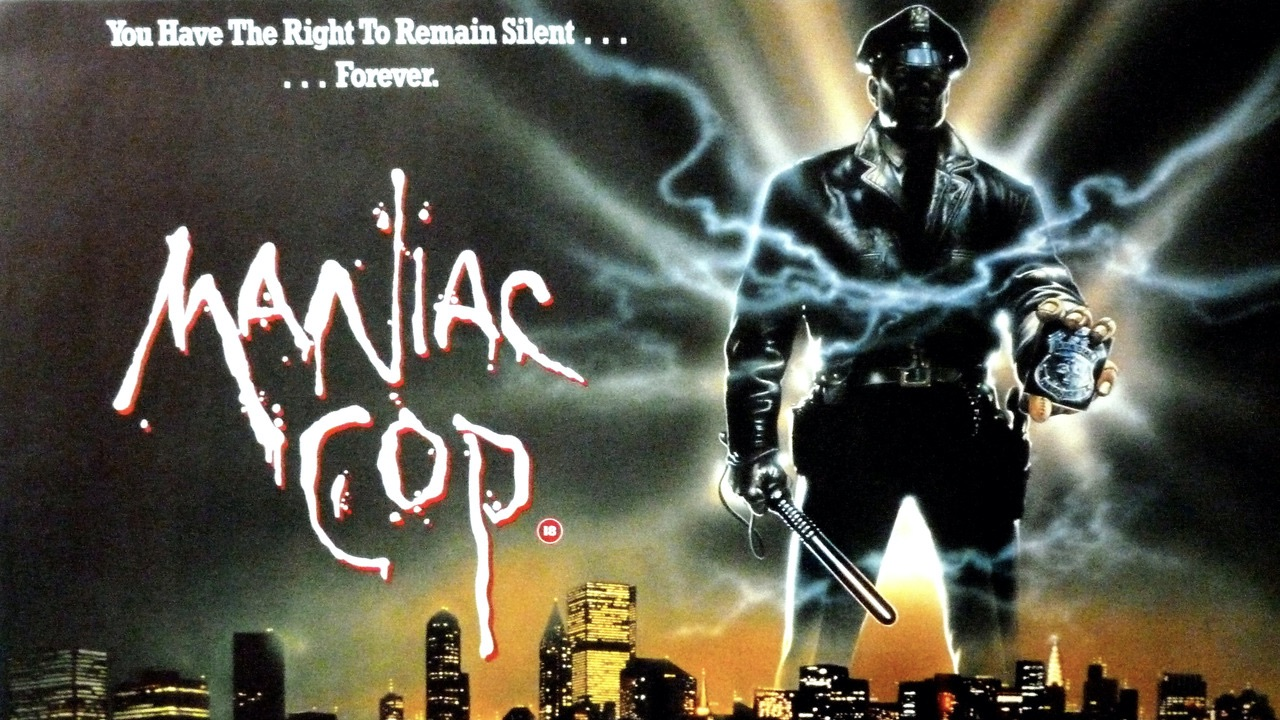 """An illustrated movie poster for """"Maniac Cop"""" featuring a back lit police officer holding out his badge with blue lightening exploding from the metal."""