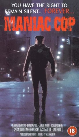 """A policeman walks down a steamy New York street on the poster for the movie """"Maniac Cop."""""""