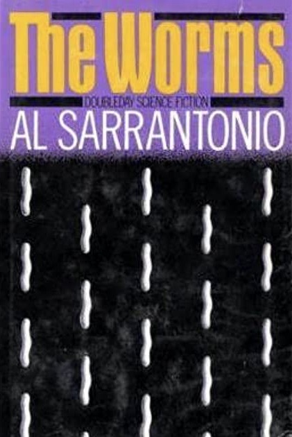 "Illustrated cover of ""The Worms,"" with a pattern of small, white worms moving vertically up the paperback cover."