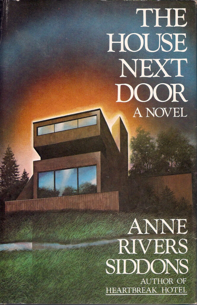 This book cover features an illustration of a boxy modern-looking house in drab beige at sunset.