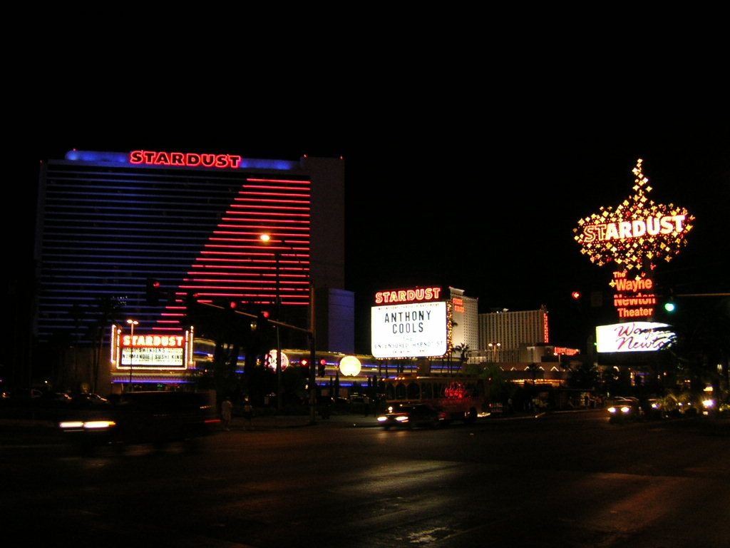 The Stardust hotel and casino at night.
