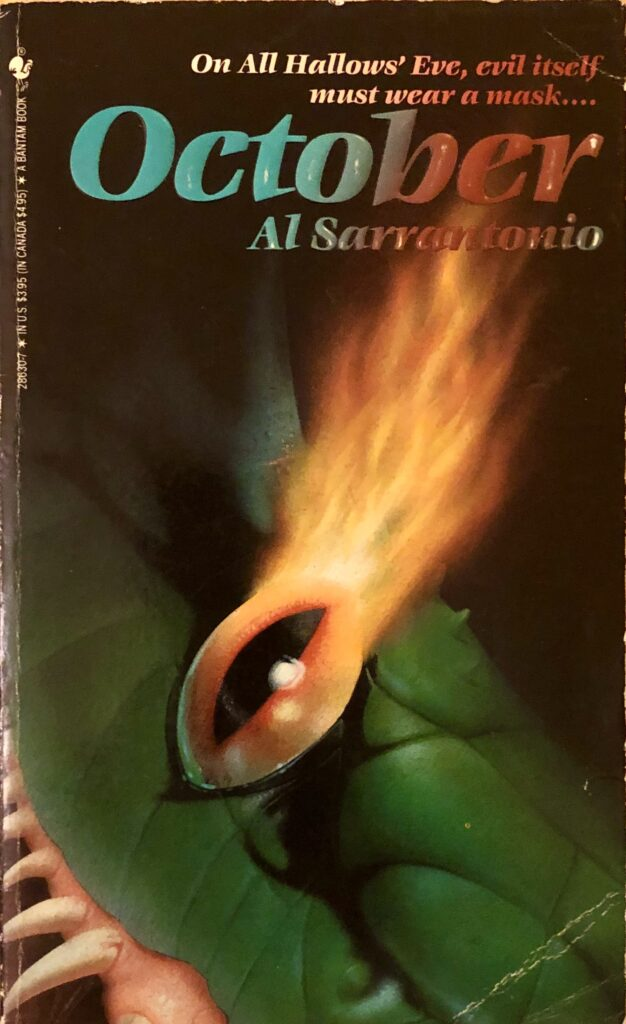 A green reptilian creature with a flaming orange eye is shown in extreme close up on this paperback front cover.