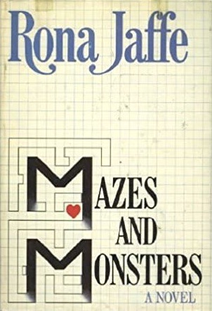 "Front cover for the book ""Mazes and Monsters,"" which has been designed to look like graph paper with a few pencil outlines depicting a maze in the bottom left corner."