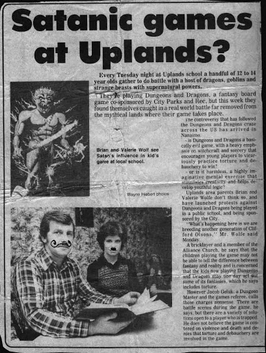 "A scanned newspaper article from the 1980s with the headline ""Satanic games at Uplands?"""
